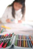 Child reading writting — Stock Photo