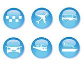 Blue transport buttons — Stock Vector