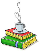 Books and cup of coffee — Stock Vector