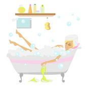 Woman taking a bath — Stock Vector