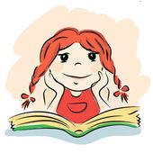 Small girl reading green book — Stock Vector