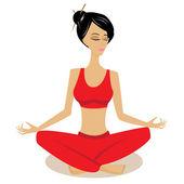 Meditation pretty woman — Stock Vector