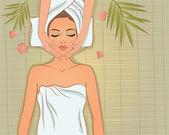 Spa. Beautiful girl enjoying massage. — Stock Vector