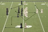 Scacchi gioco di calcio 50 yard linea — Foto Stock