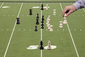 Schaken voetbal met offensief coach — Stockfoto