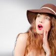 Young beautiful fashion woman wearing hat — Stock Photo