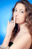 Young beautiful woman with silence sign — Stock Photo