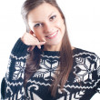 Smiley woman making call me gesture — Stock Photo
