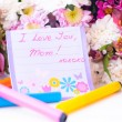 Happy mother day card among flowers — Stock Photo #10361839