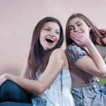 Happy teen friends sharing secret — Stock Photo #10368282