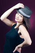 Young beautiful woman wearing stylish hat — ストック写真