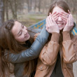 Two happy teenage friends — Stock Photo