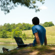 Stock Photo: Mwith notebook in nature