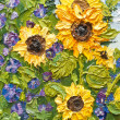 Oil painting of sunflowers - Stock Photo