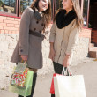 Two beautiful young girls with shopping bags talking — Stockfoto #10413197