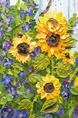 Oil painting of sunflowers — Stock Photo