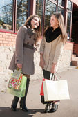 Two beautiful young girls with shopping bags talking — Stock Photo