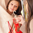 Beautiful young girl in the dressing room — Stock Photo