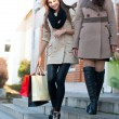 Two beautiful young girls with shopping bags — Stock Photo