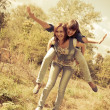 Two young girls having fun — Stock Photo