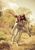 Two young girls having fun — Stock Photo