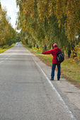 Hitchhiker sign — Stock Photo