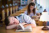 Sweet Dreams in a Library — Stock Photo