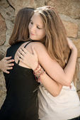 Young Girls Hug — Stock Photo