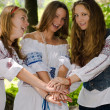 Three Ethno Beauty teens having fun - Stock Photo