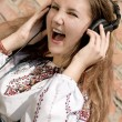 Teenager girl in headphones — Stock Photo