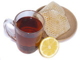 Black tea, lemon and honey — Stock Photo