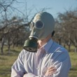 Man wearing gasmask — Stock Photo
