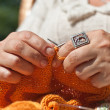 Knitting closeup — Stock Photo