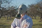 Man wearing gasmask — Stock Photo