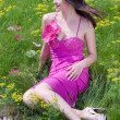 Stock Photo: Young pretty woman in pink dress sitting on green grass