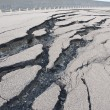 Stock Photo: Cracked road after the disaster