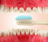 Mouth from inside and tooth-brush — Stock Photo
