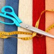 Scissors and measuring tape — Stock Photo