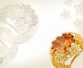 Carta di gioielleria con l'anello d'oro — Foto Stock