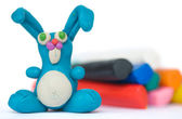 Plasticine rabbit — Stock Photo