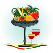 Royalty-Free Stock Vector Image: Friuts in vase with glass of red wine