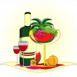 Royalty-Free Stock Vector Image: Fruits in vase with bottle of wine on served table