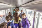 Passenger boarding the plane at Terminal 4 — Stock Photo