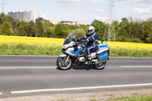 The police protects the 51st bicycle race Rund Um Den Finanzpla — Stock Photo
