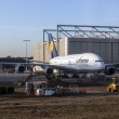 Lufthansa A380 at Lufthansa Technik wharft at Rhein Main airport — Foto Stock