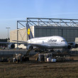 Lufthansa A380 at Lufthansa Technik wharft at Rhein Main airport — Zdjęcie stockowe