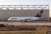 Lufthansa A380 at Lufthansa Technik wharft at Rhein Main airport — Stock Photo