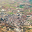 Aerial of village and fields around madrid - Stockfoto