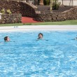 Three boys swimming in the pool — Stock Photo