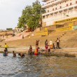 Stock Photo: Colorful main ghat in varanasi